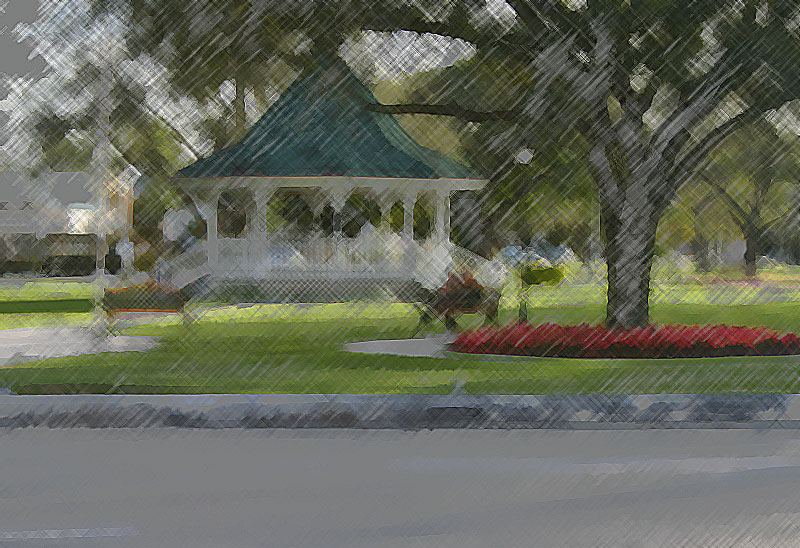 Artistic Sketch of the Circle and Gazeebo in Miami Springs, Florida