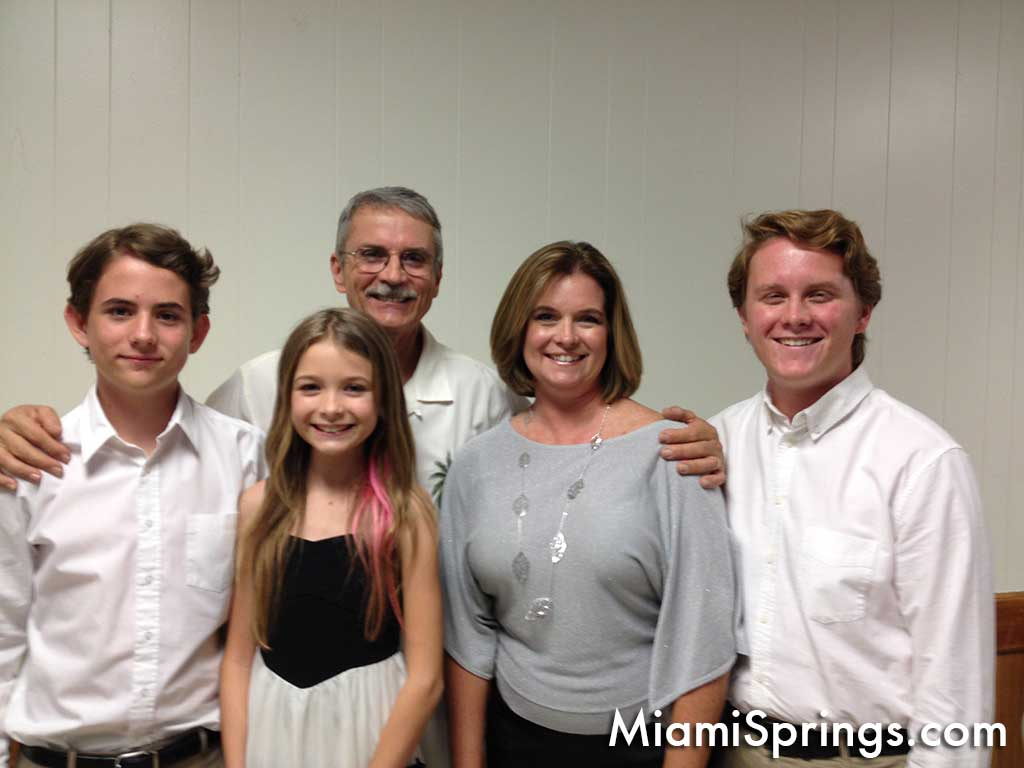 Retired Miami Springs Police Chief Pete Baan with his family