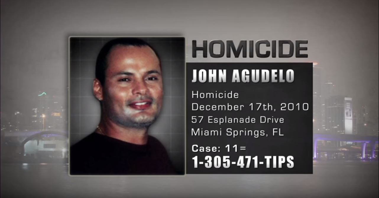 John Agudelo was murdered on December 17th, 2010 at 57 Esplanade Drive in Miami Springs, Florida.
