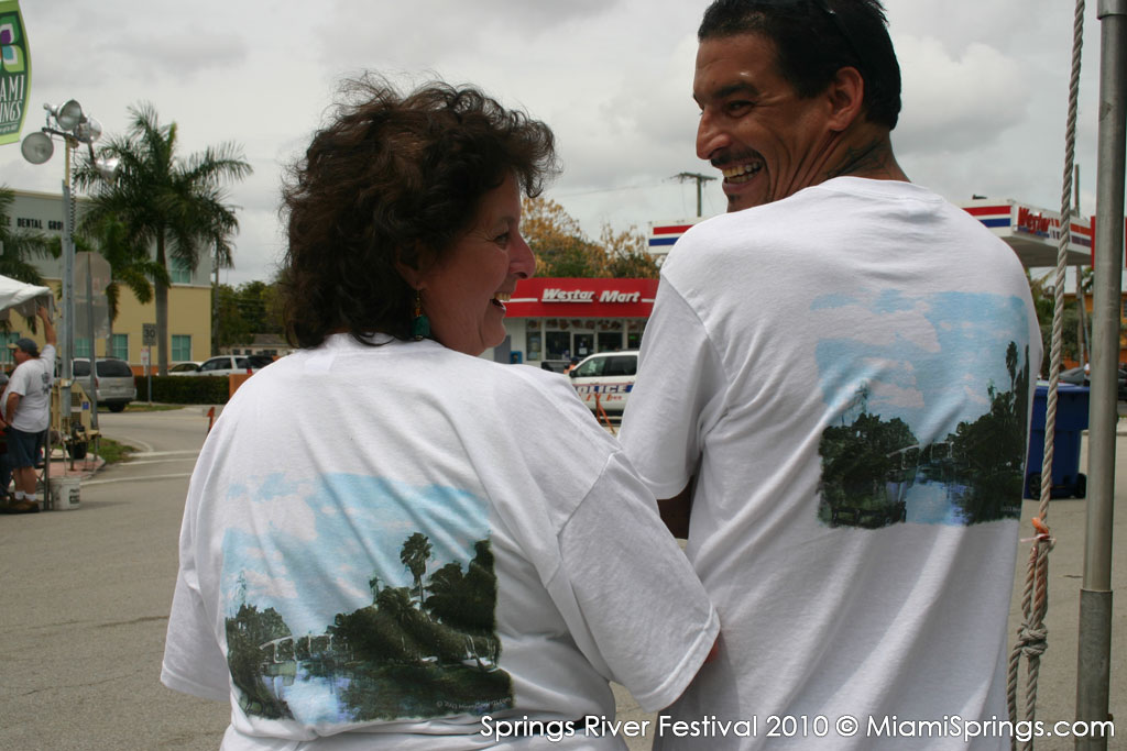 Nikki Howard with her son showing off the Springs River Festival 2010 T-Shirts…